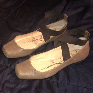 Leather Square Toe Ballet Flats